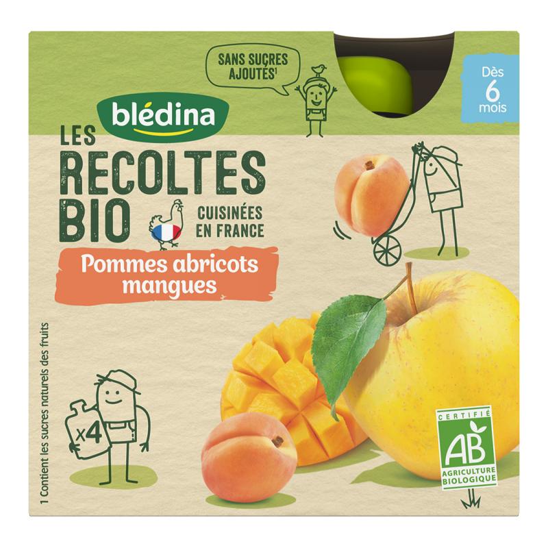 Les récoltes Bio Gourdes Pommes Mangues Abricots - 4x90g
