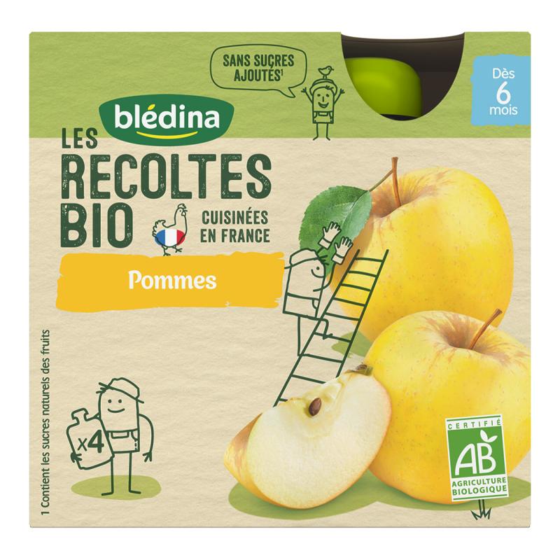 Les récoltes Bio Gourdes Pommes - 4x90g