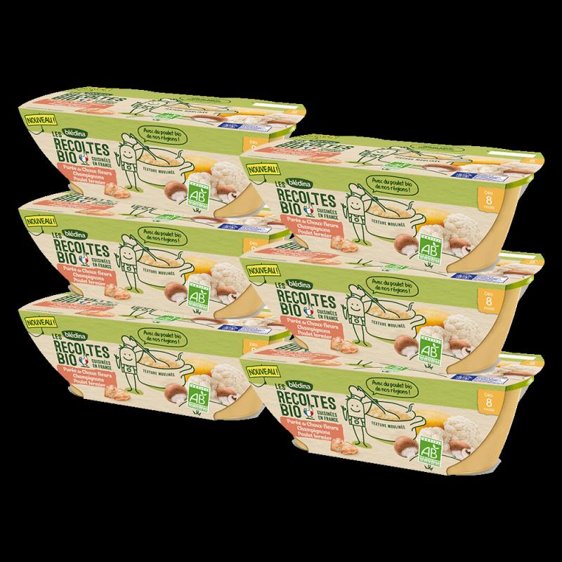 Pack Bio Purée de Choux fleurs Champignons Poulet fermier