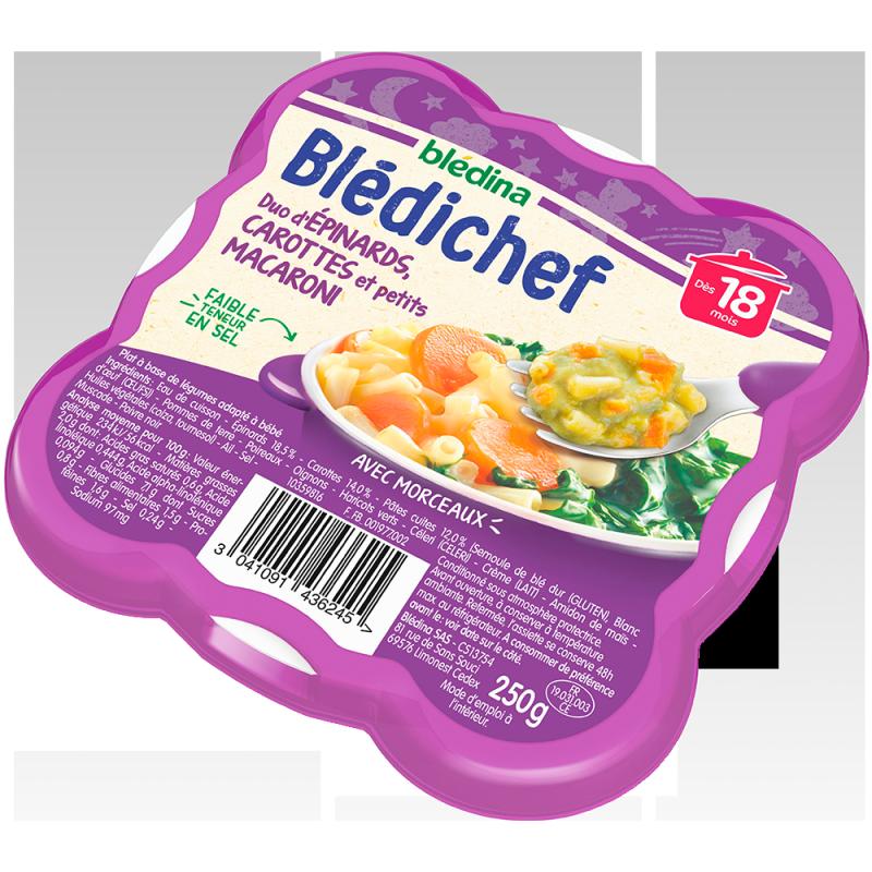 Blédichef Duo d'épinards carottes et petits macaroni