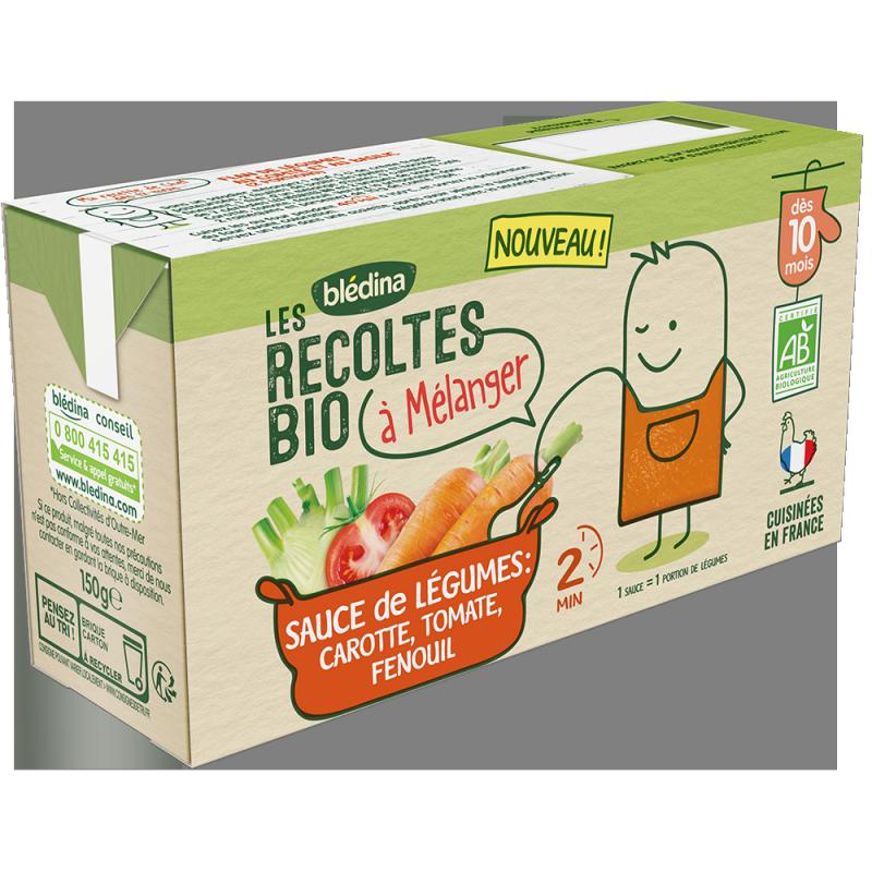 Les Récoltes bio à mélanger Sauce de légumes carotte, tomate, fenouil