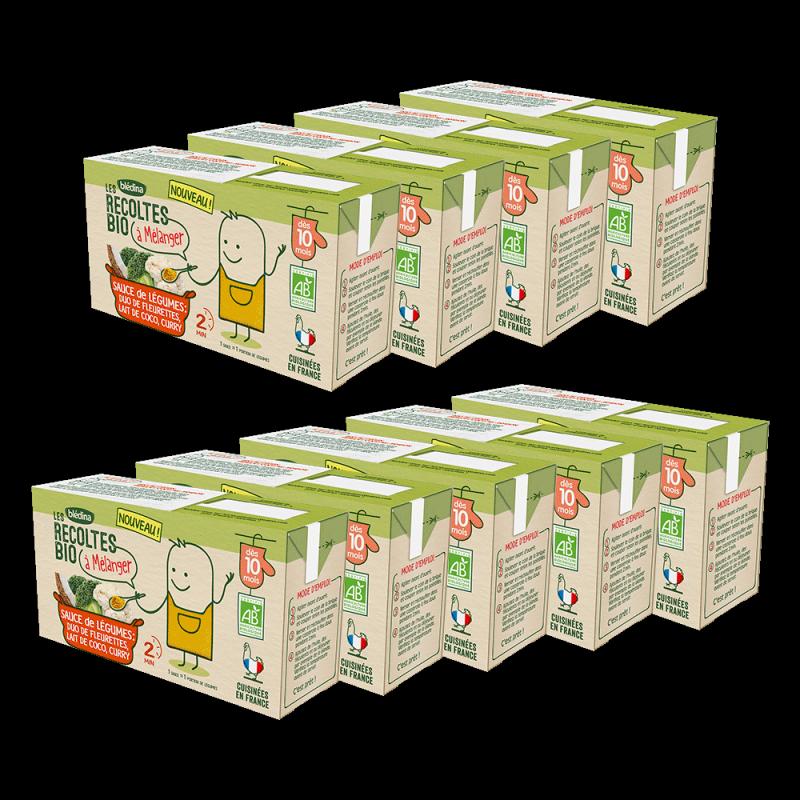 Pack Les récoltes Bio à mélanger Sauce de légumes duo de fleurette, lait de coco, curry