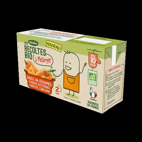 Pack Les récoltes Bio à mélanger Sauce de légumes Courge Butternut, Carotte, Curcuma