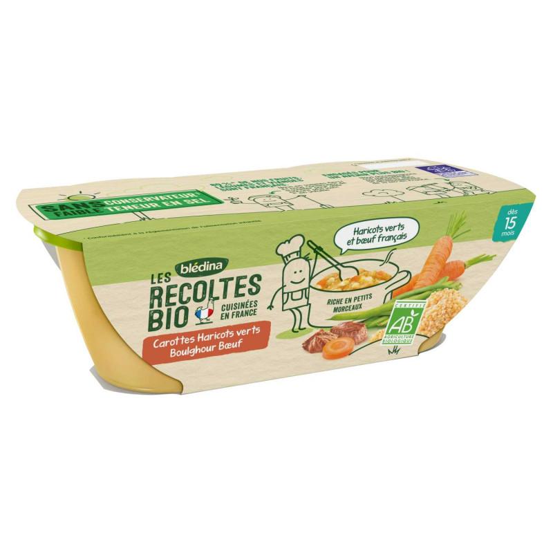 Les récoltes Bio Carottes Haricots verts Boulghour Boeuf
