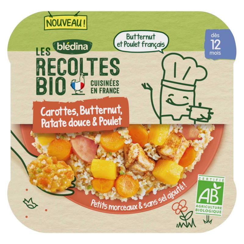 Les Récoltes Bio - Petit plat Bio - Carottes, Butternut, Patates douces et Poulet - 230g
