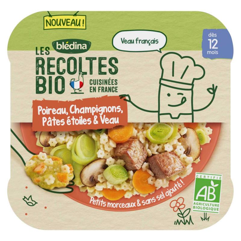 Les Récoltes Bio - Petit plat Bio - Poireau, Champignons, Pâtes étoilés et Veau - 230g