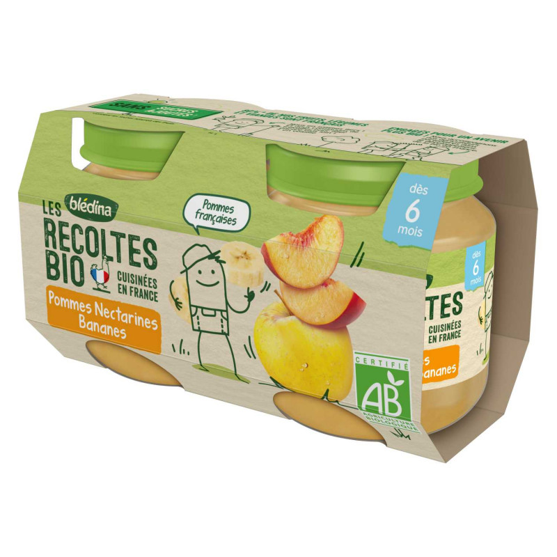 Les récoltes Bio - Pommes Nectarines Bananes - 2x130g