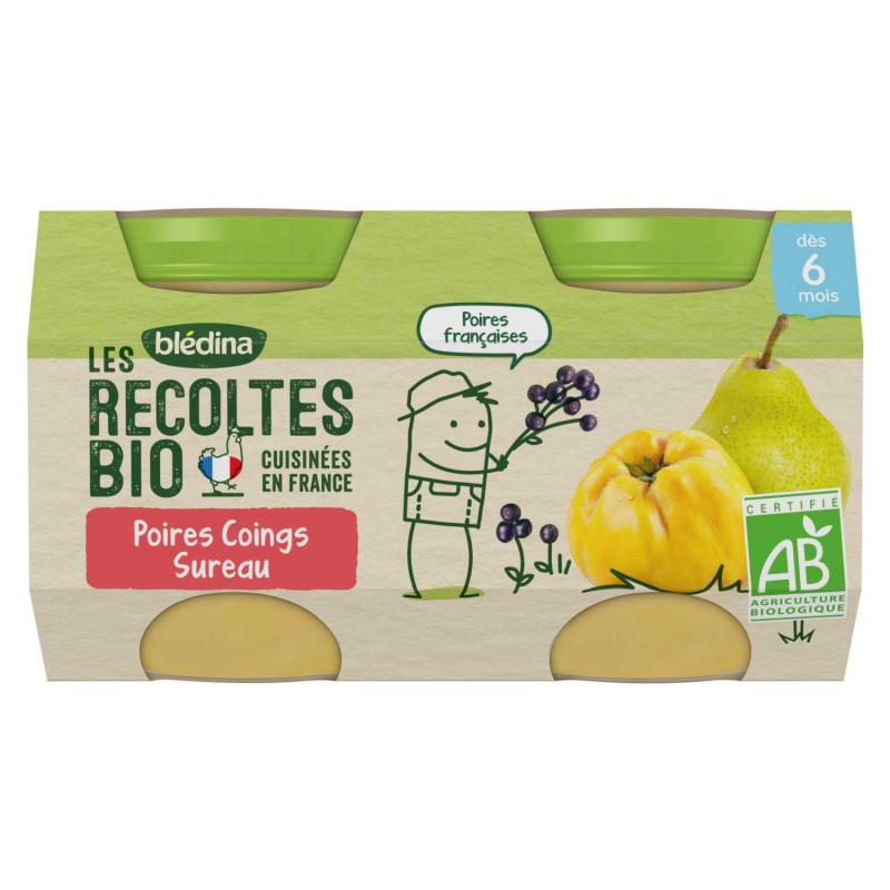 Les récoltes Bio - Poires Coings Sureau - 2x130g