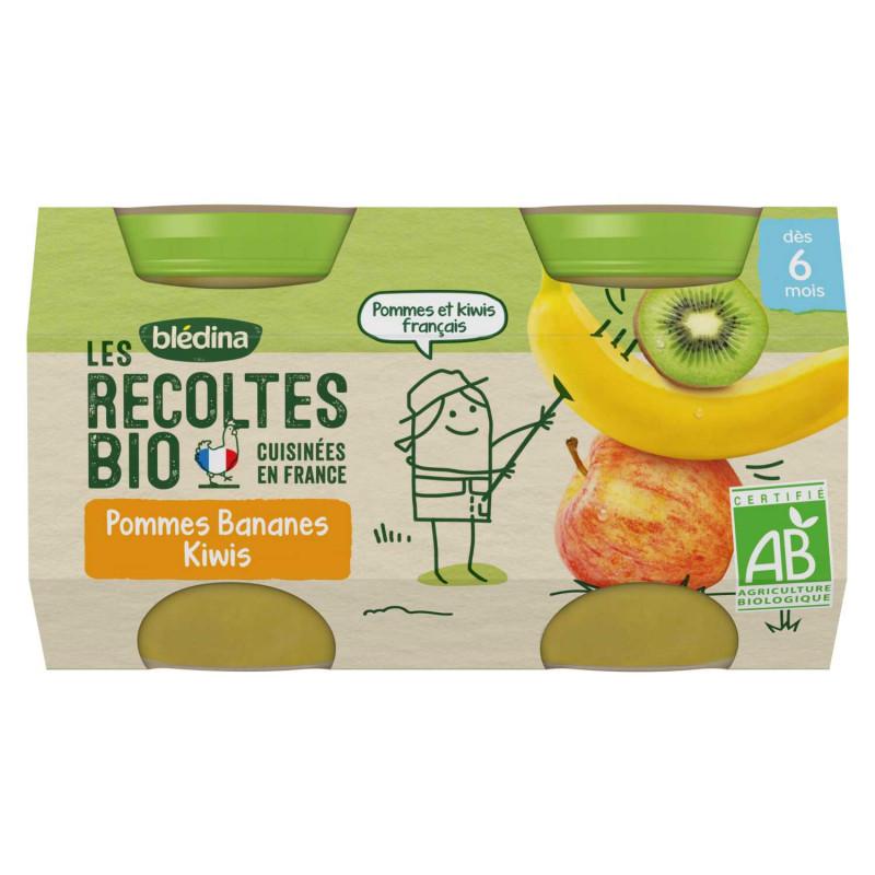 Les récoltes Bio - Pommes Bananes Kiwi - 2x130g